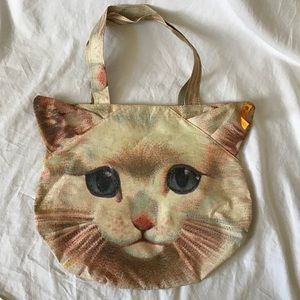 Cat Face Canvas Tote